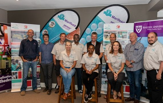 AquaVitae group photo of case studies os sea and land-based IMTA, and sea cucumber in South Africa. Photograph: Gareth Yearsley