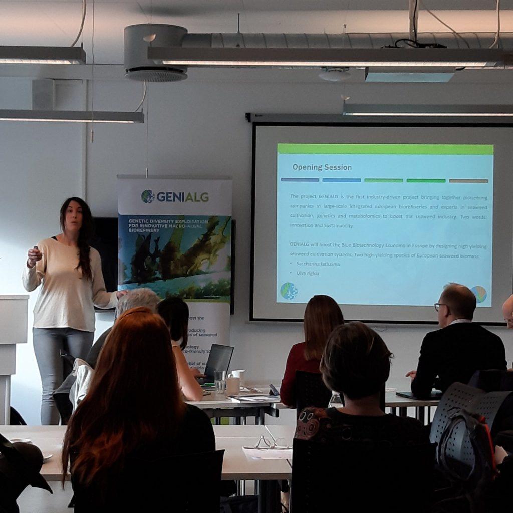 Itziar Burges of CIIMAR introduces workshop on seaweed production in Norway by AquaVitae and Genialg.