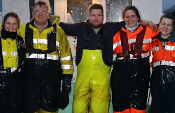 The Ocean Rainforest team on site, in their offshore seaweed farm in the Faroe Islands.