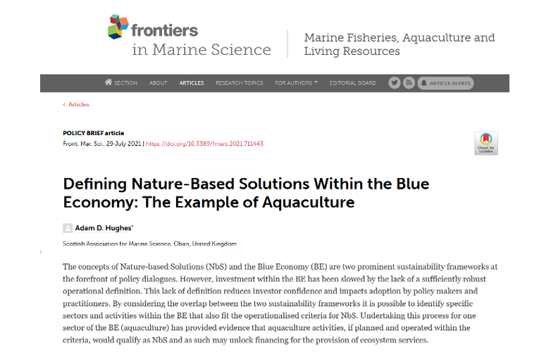 Defining Nature-Based Solutions Within the Blue Economy: The Example of Aquaculture.